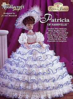 Patricia of Nashville Ruffled Gown for Barbie Fashion Dolls Crochet HTF PATTERN
