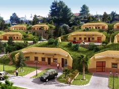 neat concept for an earth-sheltered neighborhood (CGI concept - origin unknown) Green Architecture, Organic Architecture, Architecture Design, Casa Dos Hobbits, Architecture Organique, Earth Sheltered Homes, Earth Bag Homes, Eco Buildings, Underground Homes