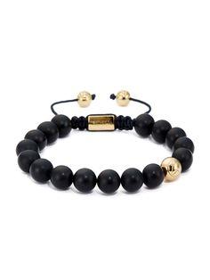 Matte Black Onyx Asymmetrical Bracelet/ 18kt. Gold
