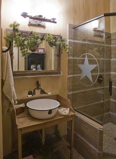 love the etched shower door and basin sink (where's the sledge hammer.. I'm tearing out our bathroom right now so my huzb will have to redo it... LIKE THIS!!)