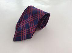 Perry Ellis Portfolio Neck Tie Blue Red Geometric 100% Silk #PerryEllisPortfolio #NeckTie