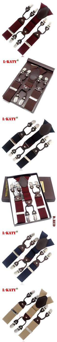 New Dark Red Burgundy tape Casual male fashion suspenders clip western-style trousers elastic spaghetti strap clip blet  MBD8603