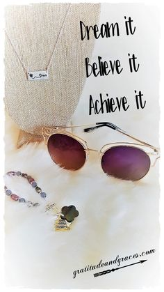 Here is your Monday morning reminder.... Whatever you wish, whatever you dream, whatever you hope to achieve, it's yours if you only believe  It's a new week... make it yours! #dream #believe #achieve #gratitude #faith #inspire #mondaymotivation #confidentmama #achieve #hope  Dream necklace, Aviators, and Achieve, Aspire, Hope Bracelet courtesy of Gratitude and Graces Inspirational Accessories & More  ️Gratitudeandgraces.com