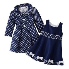 Amazon.com: Size-3/6M BNJ-0825R 2-Piece NAVY-BLUE WHITE JACQUARD DOT Special Occasion Wedding Flower Girl Easter Party Dress/Coat Set,R00825 Bonnie Jean Baby/NEWBORN: Clothing