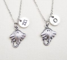 2 personalized stingray necklaces, Best Friend necklaces, manta ray, initial, ocean inspired jewelry, birthday gift, sister gift, friendship on Etsy, $28.00