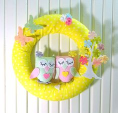 Cute Owls and Flower Tree, Floral Butterfly, Pastel Colors, For Twin Baby Girl  Door Wreath