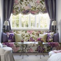 pretty ♥ Print on working balloon shade and skirted window seat looks great with striped drapery panels