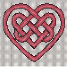 Celtic Knot Cross Stitch Patterns Free | Cross Stitch Pattern Red Heart Knot PDF Emailed Craft Celtic Symbol ...
