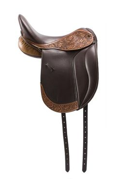 Hand-tooled Dressage saddle. Click to see others. Hell yes! Combine the best of western saddle design with dressage!