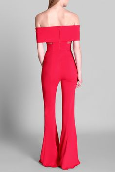 The Watermelon Off the Shoulder Tiana Jumpsuit in our vibrant watermelon color features an off the shoulder design and sheer midriff for a sexy, yet sophisticated peak of skin. Tiana, Long Pants, Wide Leg Pants, Tall Women, Summer Sale, Off The Shoulder, Ready To Wear, Jumpsuit, Clothes For Women