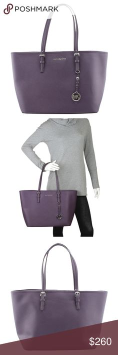 Michael Kors Jet Set Purple Leather Tote 141467 •Designer: Michael Kors •Overall Condition: New without tags •Type: Tote •Material: Leather •Origin: China •Color: Purple •Interior Lining: Nylon •Interior Color: Tan •Hardware: Gold-Tone •Meas (L x W x H): 19x7x11 •Handle Drop: 11 •Exterior Pockets: 1 •Interior Pockets: 5 •Production Code: BA-1078 •Overall Condition Description: This Michael by Michael Kors Jet Set tote bag is New with tags. Ref: 140629-141467-PBP-SH IPL: Michael Kors Bags…