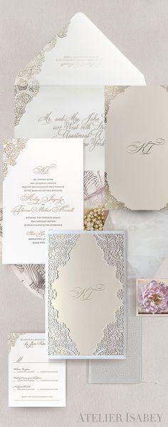 Elegant lace inspired wedding invitation with laser cut and foil detailing. Perfect for a classic wedding with a twist. by Atelier Isabey Laser Cut Invitation, Laser Cut Wedding Invitations, Wedding Invitation Design, Invites, Bohemian Chic Weddings, Romantic Weddings, Wedding Planning Inspiration, Wedding Ideas, Glamorous Wedding