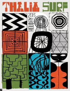 Stephen Smith/Neasden Control Centre via Plucky. Thalia Surf, Poster, Illustration Art, Illustration Print, Textile Prints, Art, Alphabet City, Print, Surf Poster