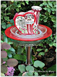 Happy Heart Cottage Garden Totem Stake As by GardenWhimsiesByMary, $38.00