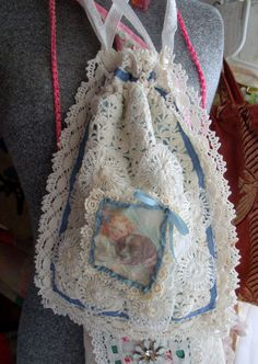 Gypsy Drawstring Crochet Bag Pouch Purse by RomanticBohemian57