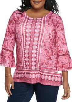 Kim Rogers  Plus Size Crochet Trim 34 Sleeve Tunic