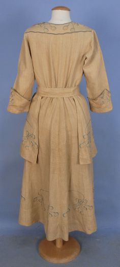 Embroidered Natural Linen Day Dress, ca. 1915 via Whitaker Auctions