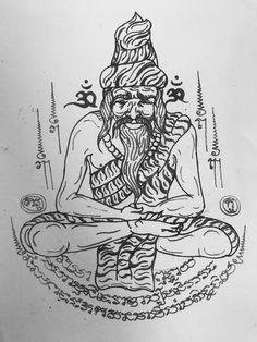 Tatoo Thai, Buddhism Tattoo, King Solomon Seals, Khmer Tattoo, Sak Yant Tattoo, Thailand Tattoo, Solomons Seal, Thai Art, Geometric Tattoos