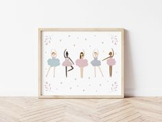 Ballerina poster, ballet dancer wall art. Huge range of affordable + high quality wall art prints. Posters and printables for adult spaces, children's bedrooms, nursery and playrooms. Personalised initials. Typography and inspirational quotes to suit any decor or interior style. Soft pink toddler girls bedroom. Kids Prints, Wall Art Prints, Ballerina Bedroom, Personalised Prints, Wooden Decor, Girls Bedroom, Bedrooms, Paper Goods, Giclee Print