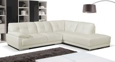 Ex-Display Siena Cream Leather Corner Sofa Right Hand Room Seating Settee 099