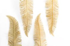 Four Vintage Gold Glitter Feathers by OysterHome on Etsy