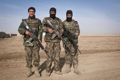 Afghan National Army soldiers pose during a mission in the Yahya Khel district.