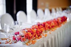 orange and pink head table decorations - Google Search
