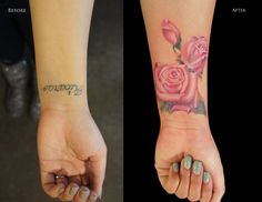 Pink Roses Rework Tattoo