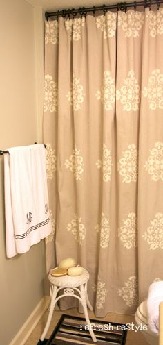 drop cloth shower curtain with annie sloan old white chalk paint stencil