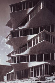 La Pagoda designed by Miguel Fisac Serna, Madrid, demolished Modern Architecture Design, Facade Architecture, Unique Buildings, Beautiful Buildings, Brutalist, San Bernardo, Parametric Design, Factories, Apartments