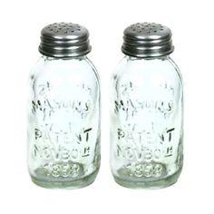 Mini Mason Jar SALT   PEPPER SHAKER Set of 2 Country Kitchen Decor
