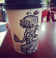 Deliciously Creative Coffee Cup Art Supports Thousands of Homeless Kids Starbucks Cup Drawing, Coffee Cup Drawing, Starbucks Cup Art, Coffee Cup Art, Coffee Cup Design, Paper Cup Design, Raising Money For Charity, Creative Coffee, Disposable Cups