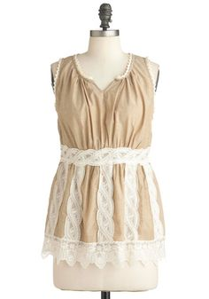 The Bluebird's Ballad Top in Tan - Long, Tan, White, Solid, Lace, Scallops, Casual, Sleeveless