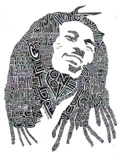 Bob Marley Black and White 85 x 11 Word Portrait by createvictory