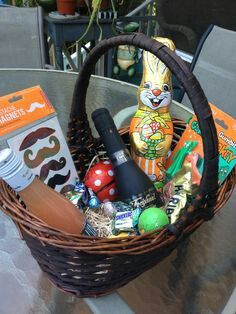 Easter basket ideas for adults easter pinterest basket ideas an adult easter basket completely with champagne splits negle Images