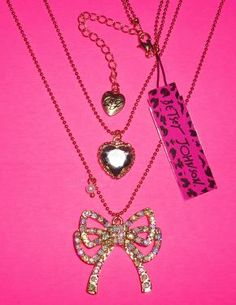 Betsey Johnson Double Necklace – Crystal Heart & Bow - Free Shipping $14.95 - New Style.ly customers can get 10.00 $ off!
