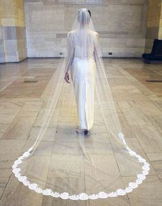 Cathedral Veil with Chantilly Lace Trim including beaded Alencon Lace Comb - Lesley