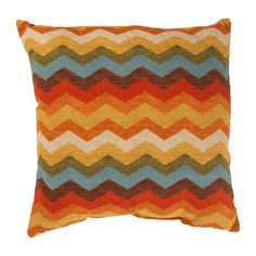 The vibrant colors in the square decorative throw pillow are sure to add a pop of color to any background. An orange, blue, red, cream, and gold chevron pattern will highlight your good taste and style when you pair it against solid fabrics.