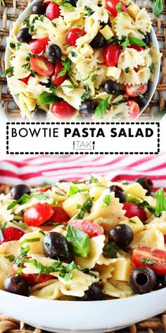 Italian Bowtie Pasta Salad with creamy Italian dressing and Parmesan is perfect for lunches, parties and BBQ side dishes! A light and healthy recipe!! Basil Pesto Pasta, Creamy Pesto Pasta, Pesto Pasta Salad, Pasta Salad Italian, Easy Pasta Recipes, Pasta Salad Recipes, Side Dish Recipes, Antipasto Pasta Salads, Marinated Cheese
