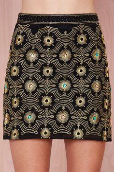 Black & Gold Embroidered Skirt
