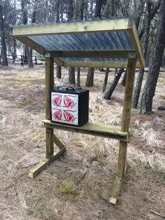 Archery target stand with shelf for box targets. Add hooks for bag targets. Archery Target Stand, Crossbow Targets, Archery Targets, Bow Rack, Archery Range, Shooting Range, Shooting Stand, Shooting Bench, Archery Bows