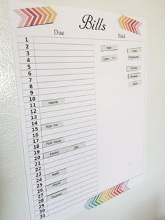 diy bill tracker.  printable sheet and then use labels on magnetic tape to keep track.  Awesome idea!  diy home sweet home: orgclean