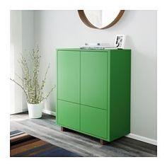 IKEA - STOCKHOLM, Skåp med 2 lådor, grön, , Du kan förvara alltifrån tallrikar till pärmar i skåpet. De djupa hyllplanen och de två stora lådorna ger gott om förvaringsutrymme.Tryck-och-öppna-beslaget gör att skåpet får ett stilrent utseende eftersom du inte behöver några handtag eller knoppar.Du kan enkelt anpassa höjden efter det du behöver förvara eftersom hyllplanen är justerbara.Skåpet står stadigt även på ojämna golv eftersom den har justerbara fötter.