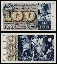 Description: A beautiful extremely fine or much better large size banknote from Switzerland. This is the 100 Francs currency note issued by The Swiss National Bank in Bern and Zurich on January 5, 197
