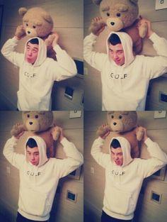 Auuuwwwww So Freaking Cuteee! Pyo Jihoon, Block B, Teddy Bear, Kpop, Toys, Animals, Seoul, Grateful, Activity Toys