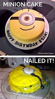 funniest nailed it minion cake lololol Bad Cakes, Baking Fails, Fail Nails, Food Fails, Funny Cake, Minion Birthday, Birthday Cakes, Boy Birthday, Cake Wrecks