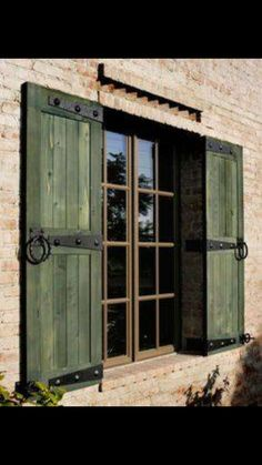 Make sure size of shutters are to cover Windows.Shutters that are tacked on the the siding without regard to the size of the window and without shutter hardware detract from an historic home. Use beautiful real shutter hardware to mount your shutters! Window Shutters Exterior, Outdoor Shutters, Rustic Shutters, Green Shutters, Pallet Shutters, Country Shutters, Windows With Shutters, Rustic Windows
