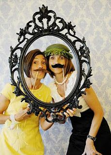 Vintage frame props for a DIY photobooth. Photo Booth Wall, Photo Booth Props, Photo Booths, Photography Props, Vintage Photography, Family Reunion Photos, Mustache Party, Mustache Birthday, Monkey Birthday