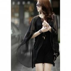 $8.93 Stylish Scoop Neck Long Sleeves Skinny Elegant Cape Style Chiffon Dress For Women