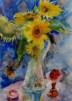 "Daily Paintworks - ""Sunflowers and Apple"" by Vita Churchill"